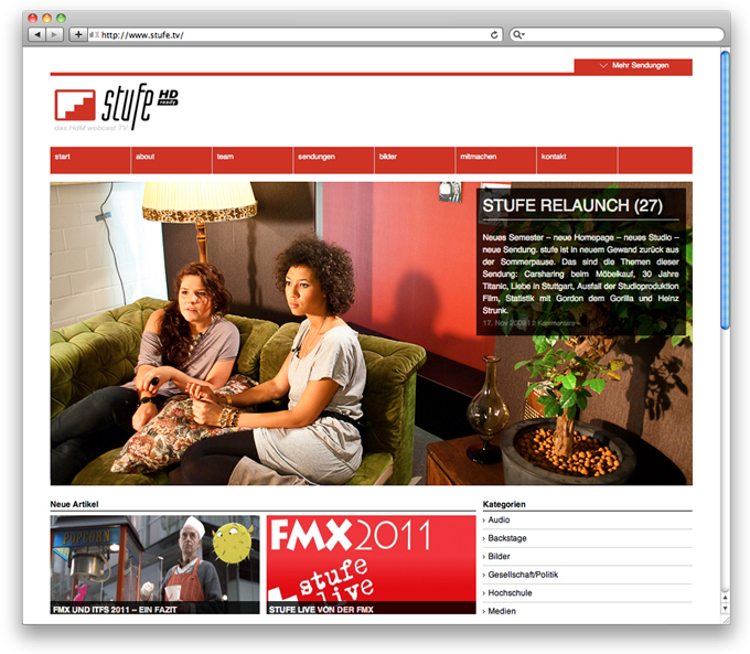 Image stufe.tv Webdesign main page