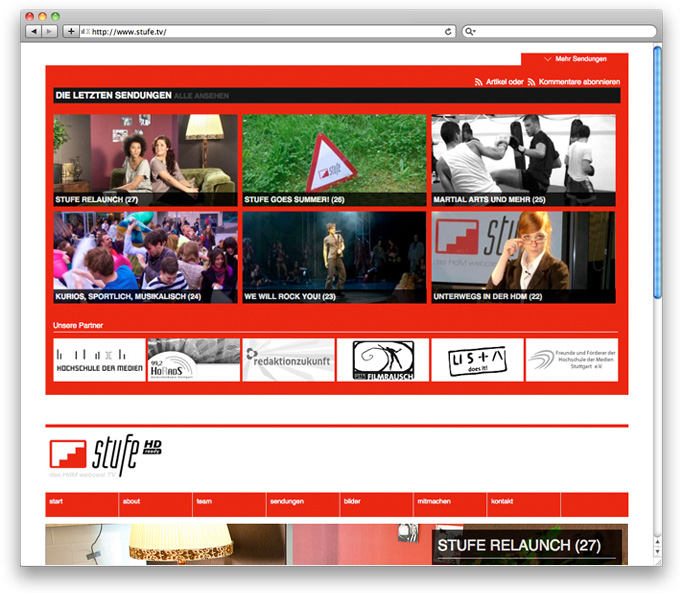 Image stufe.tv Webdesign more menu
