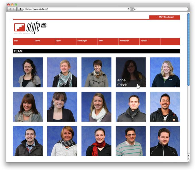Image stufe.tv Webdesign team page